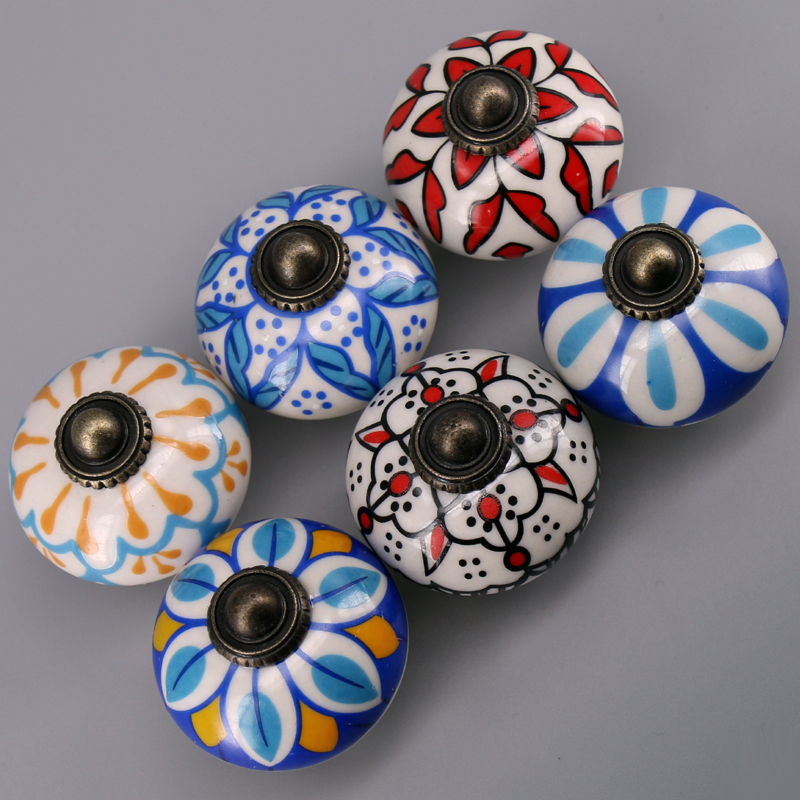 1x Dia.38mm Round Flora Painted Ceramic Bedroom Furniture Door Knob Kitchen Porcelain  Cabinet Cupboard Drawer Pull Handle