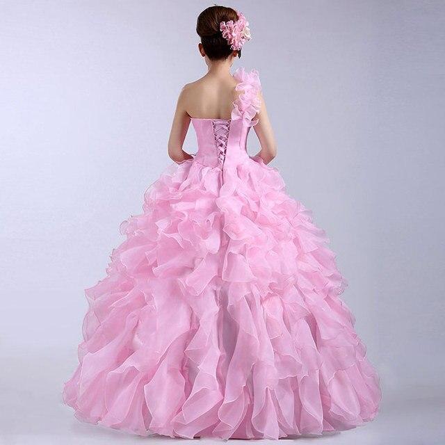 Suosikki Romantic 2020 Colorful Organza A line Beading Ruched One Shoulder Wedding Dress Bride Beautiful Party Vestidos De Novia 3