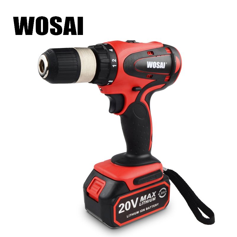 WOSAI 20V Cordless Electric Hand Drill Lithium Battery Electric Drill Cordless 2-Speed    Drill Electric Screwdriver Power Tools wosai 20v lithium battery max torque 380n m 4 0ah brushless electric impact wrench diy cordless drill cordless wrench