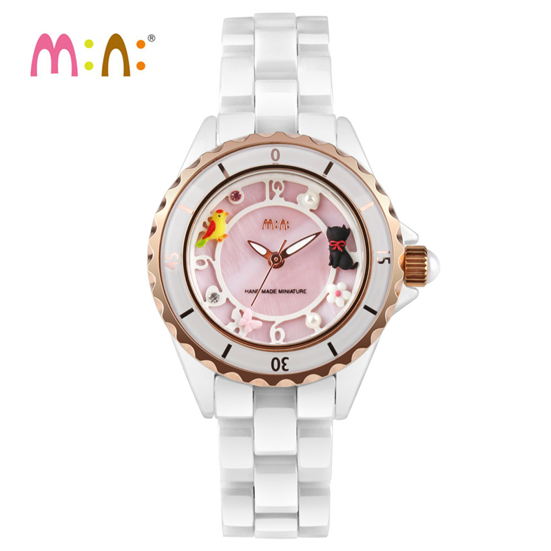 2017 Brand Mini 3D Cat Watch Waterproof Ceramic Quartz Wrist Watch Gold Fashion Ladies Watches Clock Women Hours Montres Femme