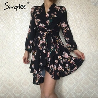 Simplee Boho Floral Print Irregular Sexy Dress Women Sexy V Neck High Waist Red Short Dress