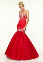 Sweetheart neckline Strapless lace tulle long red mermaid font b prom b font font b dress