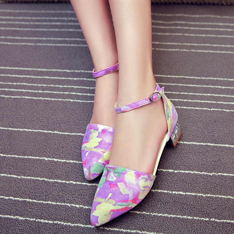 Bout Femme pink D'été Appartements D'orsay Chaussures Coloré Femmes Multicolore Dame Pointu Sandales Gommage yellow Troupeau purple Talon Blue Peint Plat zq6nT5Aw