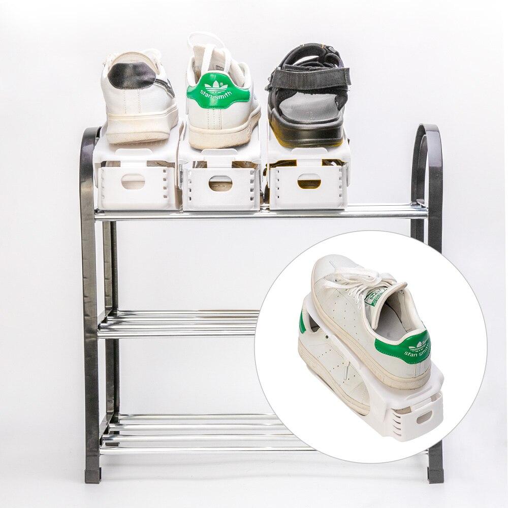Image 5 - 10 шт. Пластиковые регулируемые стойки для обуви Органайзер для хранения, домашний двойной слой стойки держатель для мужчин или женщин обувь Органайзер Белый-in Полки и органайзеры для обуви from Дом и животные on AliExpress