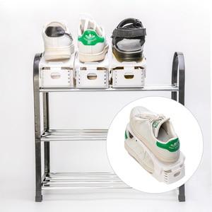 Image 5 - 10 個プラスチック調節可能な靴ラック収納オーガナイザー、ホーム二重層ラックホルダー男性または女性のためシューズオーガナイザー白