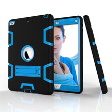For iPad 9.7″ 2017/2018 A1822 A1823 A1893 Dual Layer Hybrid Armor Case With Kickstand Shockproof Rubber & Hard PC Tablet Cover