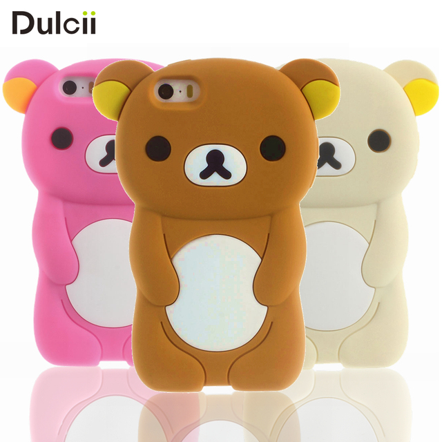 quality design 948f2 68f9b US $2.69 |Dulcii for iPhone 5 5s SE Case Rilakkuma Silicone for iPhoneSE 5s  5 Back Shell Cute 3D Phone Cases Mobile Phone Bag-in Fitted Cases from ...