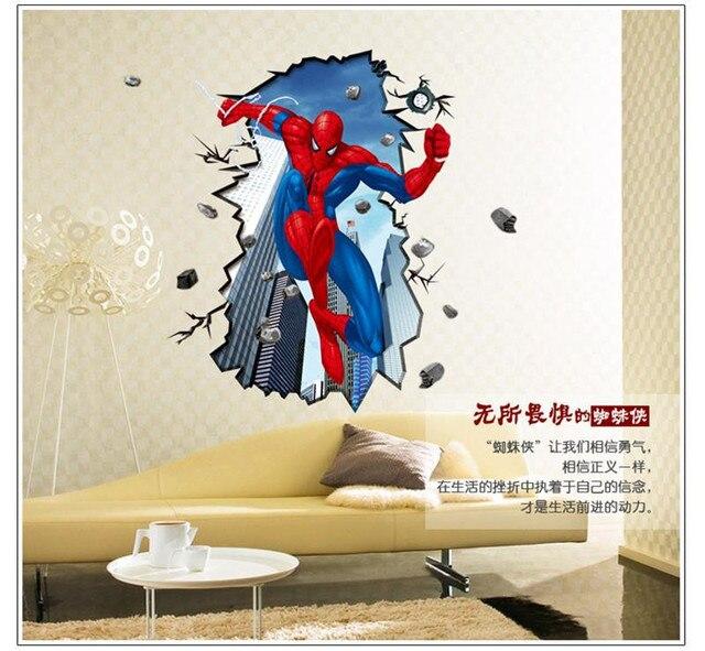 Spiderman muurstickers voor kinderen kamers 3d through ...