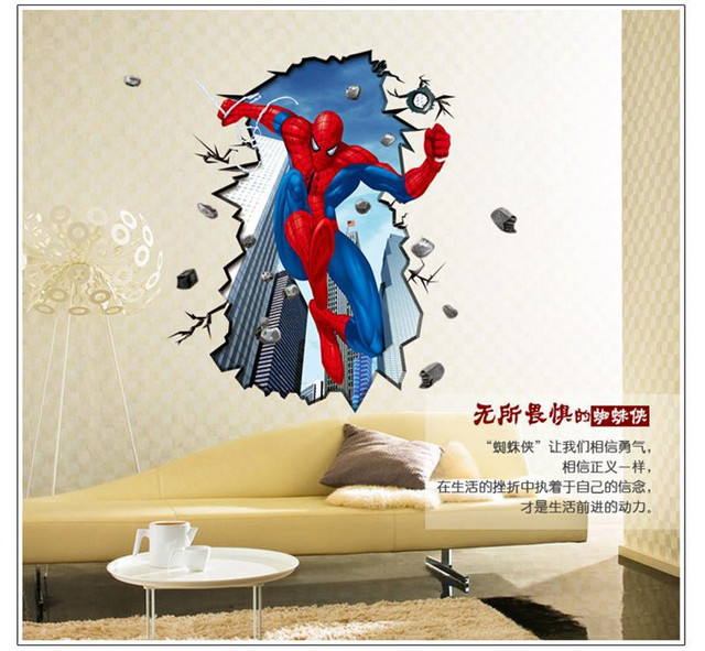 Spiderman wandaufkleber für kinderzimmer 3d durch wandbild poster ...