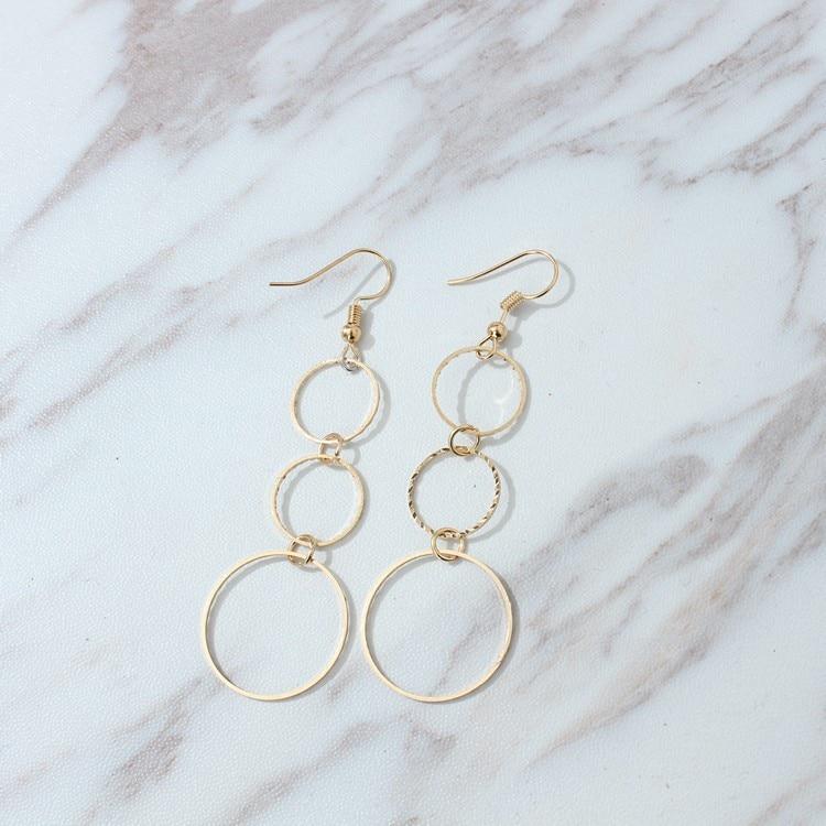 gold Multi-circle Earrings Statement Long Earrings Free Shipping Geometric Tandem Size Circle Irregular Fashion Tassel Earrings