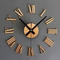 Szs quente diy luxo 3d numerais romanos relógio de parede tamanho grande decoração para casa arte relógio quente (cor: ouro)
