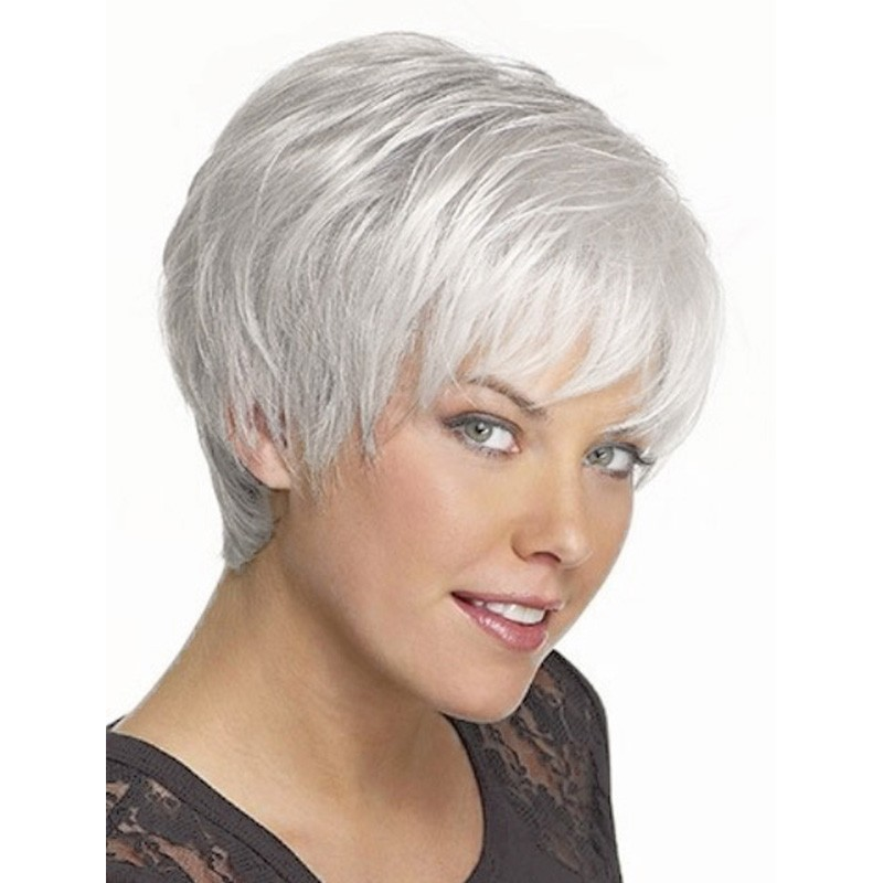 straight silver grey short wig side bangs fashion heat. Black Bedroom Furniture Sets. Home Design Ideas