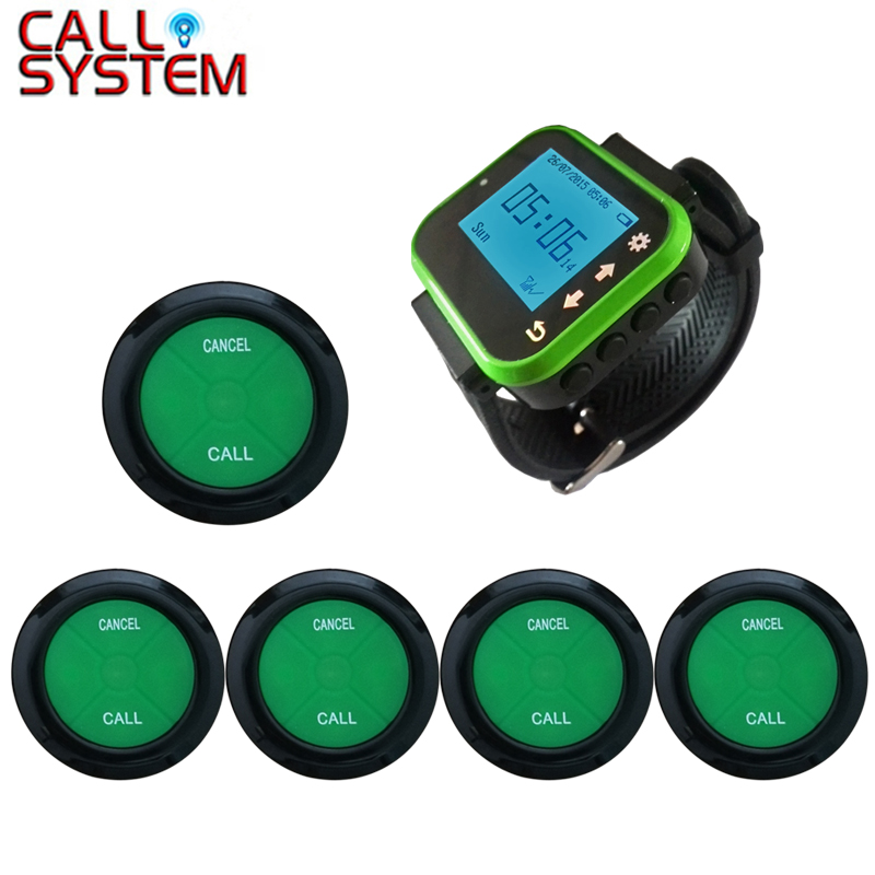 Ycall Restaurant Pager Wireless Calling Paging System 1 Wrist Pager Clock 5 Ultra Thin Table Bell Call Button