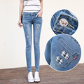 Fashion new womens slim fit elastic full length denim pencil pants stylish manual ripped street wear patchwork jeans for women