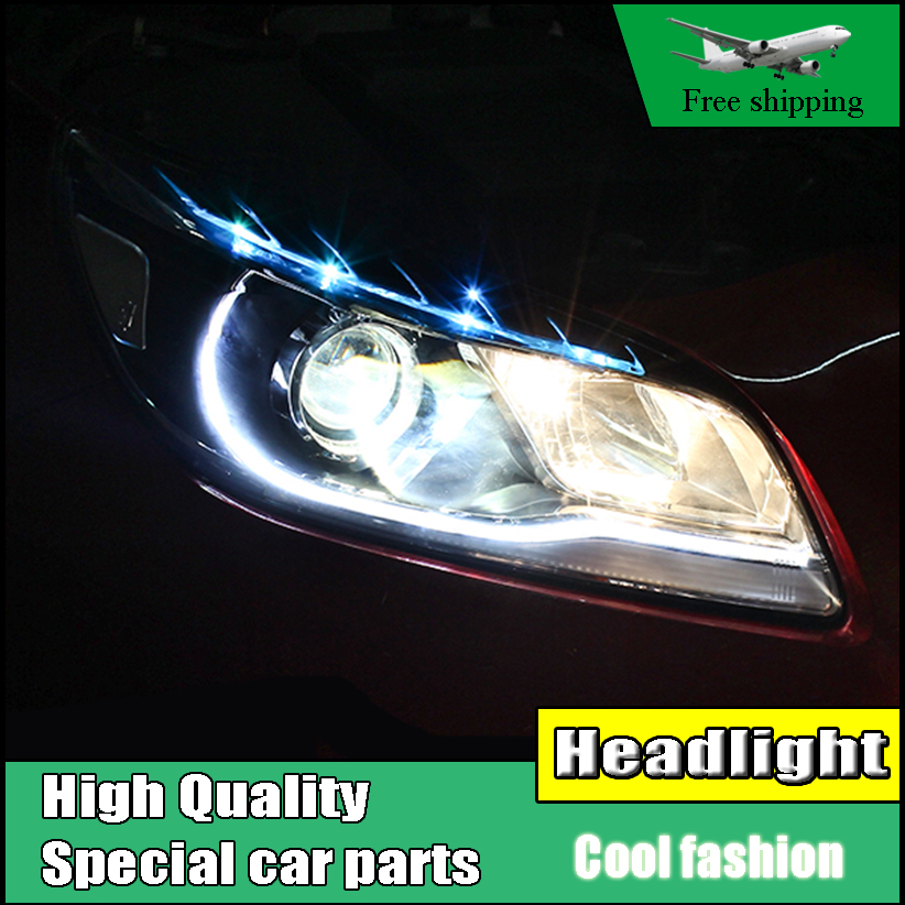 Car Styling For Chevrolet Malibu Headlights 2012 2013 214 LED Headlight DRL Double Beam Lens H7 HID Xenon Low Beam bi xenon lens hireno headlamp for 2013 2015 nissan tiida headlight assembly led drl angel lens double beam hid xenon 2pcs