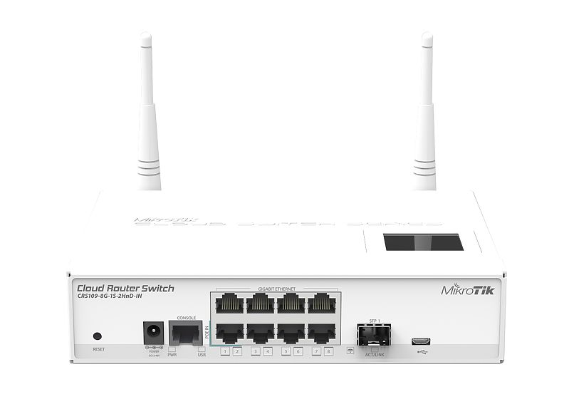 MikroTik Cloud Router Switch CRS109-8G-1S-2HnD-IN 8 Gigabit Ports RouterOS маршрутизатор mikrotik ccr1036 8g 2s em cloud core router 1036 8g 2s em with tilera tile gx36 cpu 36 cores 1 2ghz per core 8gb ram 2xsfp cage 8