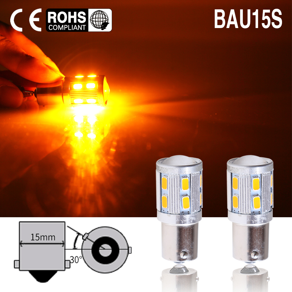 2pcs Car Rear Direction Indicator Auto Front Light 1156 7507 PY21W BAU15S 16 LED 5630 5730 SMD amber yellow 12V