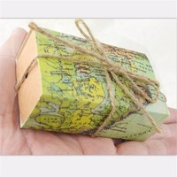 Newest 100Pcs/lot World Map Wedding Favors Boxes Wedding Candy Box with jute tie Gifts Event & Party Decoration