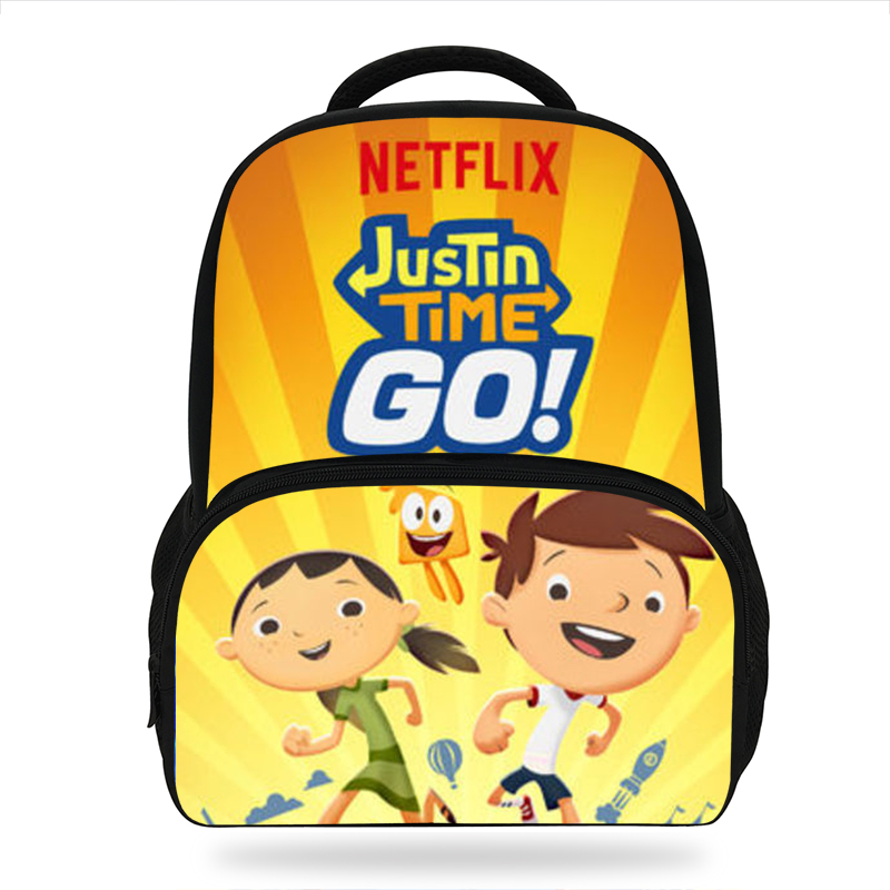 2019 Newest Cartoon Justin Time Go Children Backpacks For Teenage Girls School Bags Movie Character Book Bags For Kids Boys