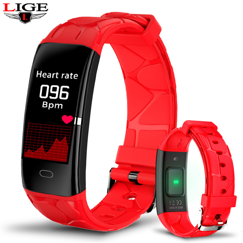 Red Super Texture Strap Smart Bracelet Men Sports Fitness Activity Heart Rate Tracker Ladies Waterproof Blood Pressure Wristband