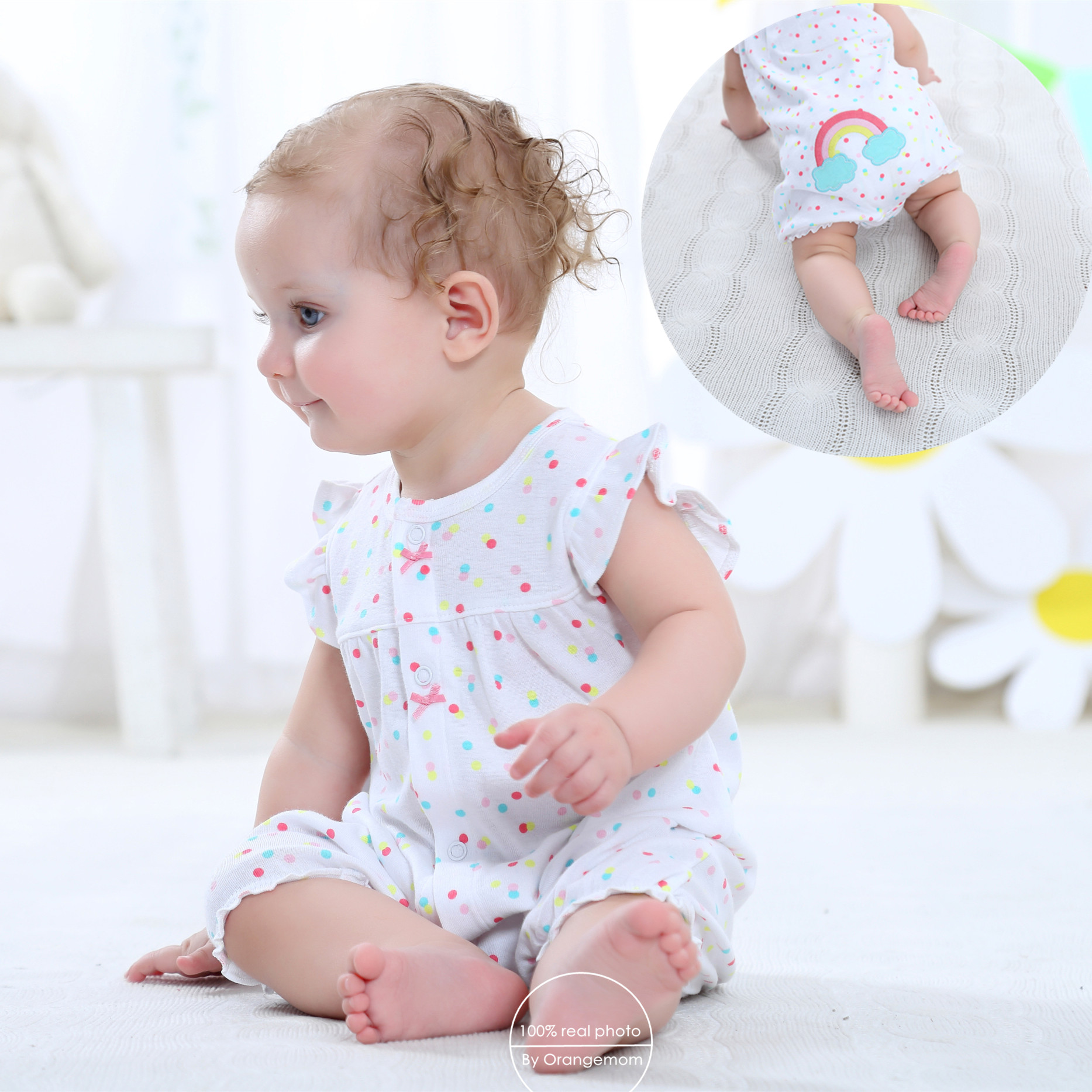 2019 orangemom summer baby girl clothes 100% cotton jumpsuits baby clothing , short romper nice infant clothes  roupas