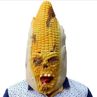 Corn Face Mask Hood Scary Horror Halloween Yellow Masks Prank