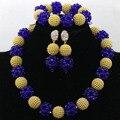 Fashion Crystal Balls Costume Women Jewelry Set Blue Mix Gold African Beads Set Birthday Gift Jewelry Set Free Shipping WA555