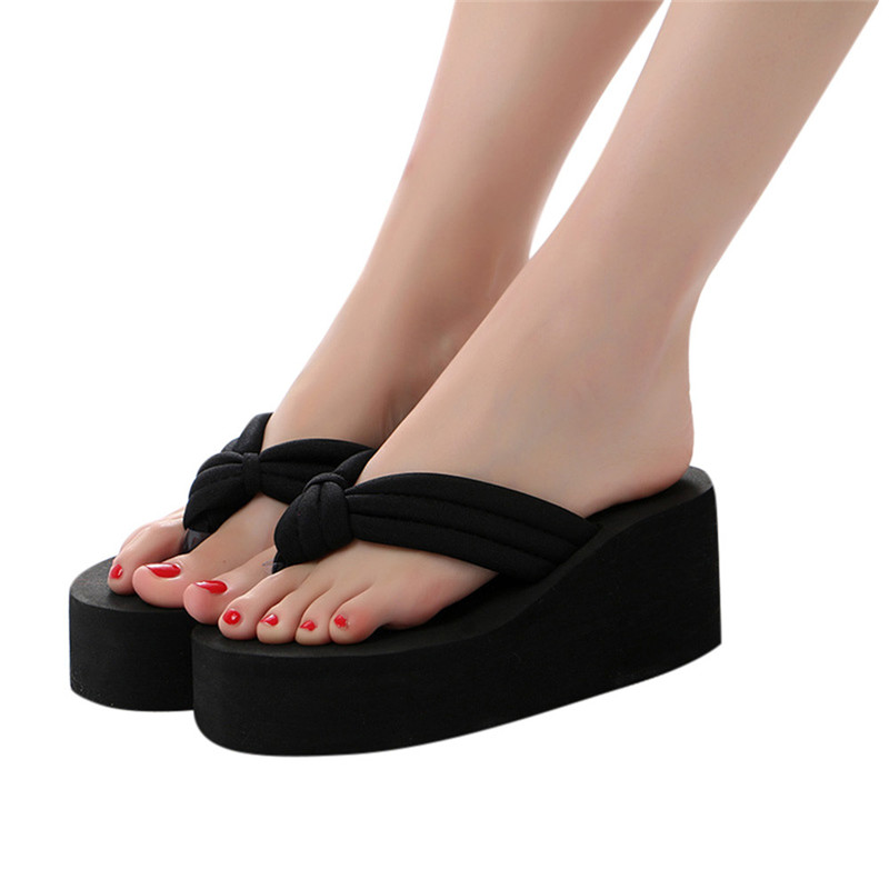 2018 Summer Sandals Wedges Women Slip Flip Flops Beach Sandals Shoes Fashionable Casual Sandals Female Ladies Thick Bottom Shoes