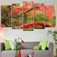 2016 New Arrived 5Panels Wall Art Pictures Hanging Autumn Bridge Leaves Landscape Canvas Prints Printed Paintings