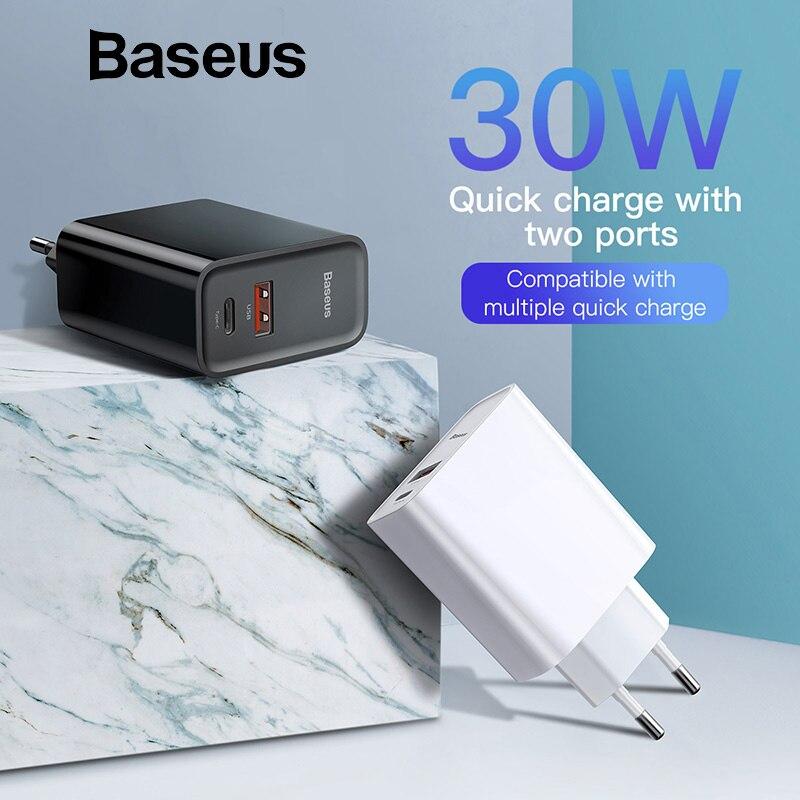 Baseus 30 w carga rápida 4.0 3.0 carregador usb para xiaomi huawei 5a supercharge dupla usb tipo c pd 3.0 carregador rápido para iphone x xs