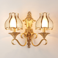America 2 Arm Retro Copper Wall Lamp With Lampshade Led Indoor Lighting Bedroom Vintage Wall Light