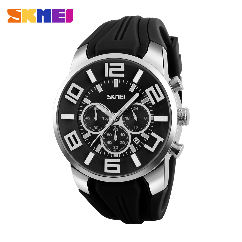 SKMEI Brand Six pin Stopwatch Chronograph Sports Watches Men Waterproof Silicone Quartz Watch Students Fashion Casual Wristwatch speatak sp9041g fashionable men s quartz watch w six stitch stopwatch black golden 1x lr626