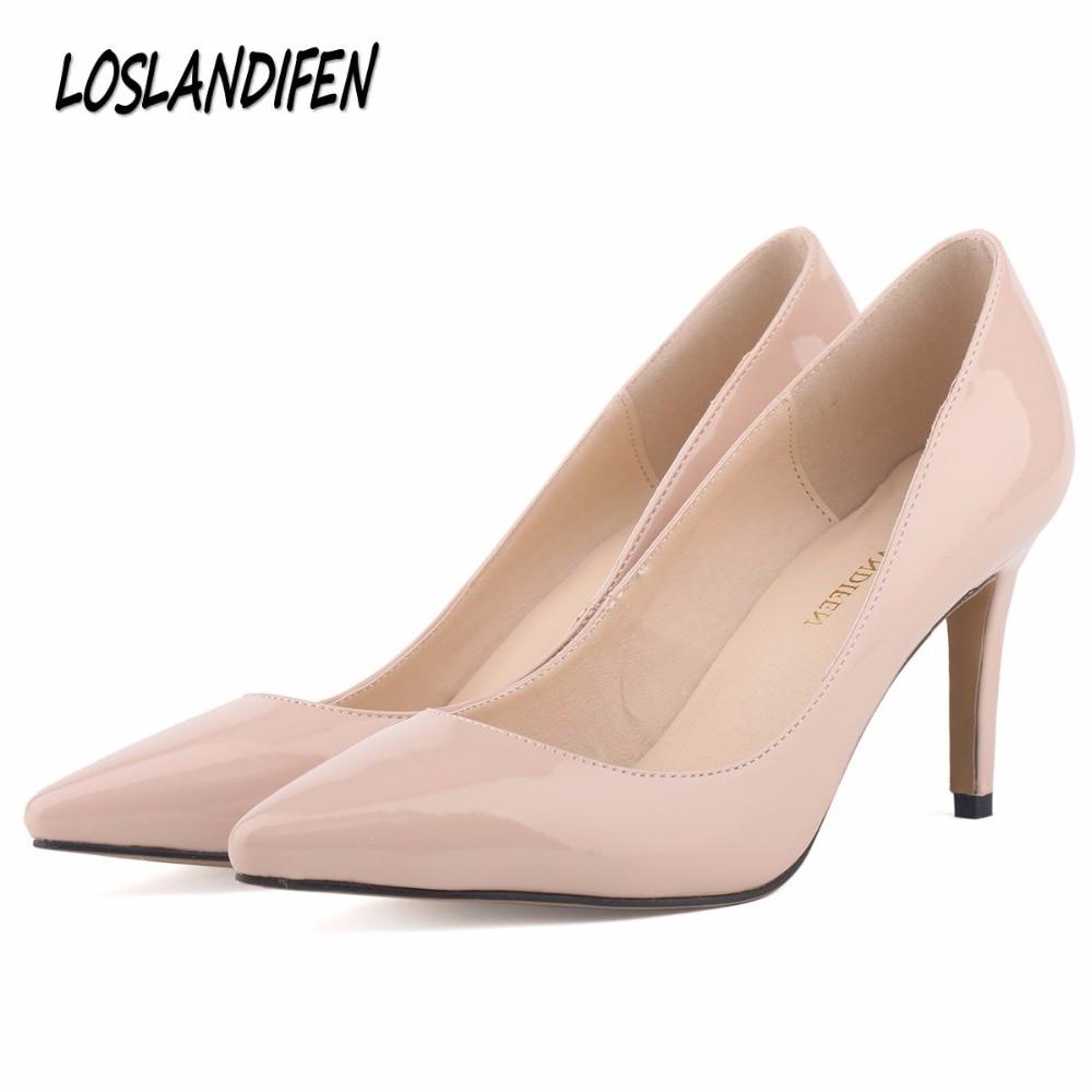 Loslandifen Nouvelle star de la mode bout pointu solide haute talons chaussures discothèque femmes pompes mince talons glissent sur chaussures de taille 35-42