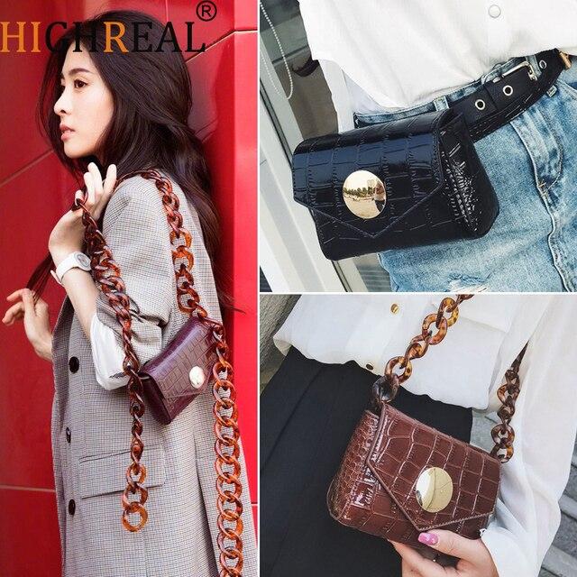 c7b252a5adc US $17.99 30% OFF|HIGHREAL Designer Women Waist Bag Crocodile Leather  Female Fanny Pack Fashion Belt Bag for Travel Fashion Crossbody Bag  Dropship-in ...