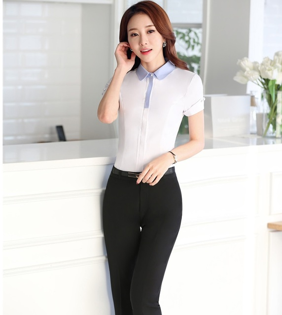 b74ebb7e8389 New Slim Fashion Professional Business Female Pantsuits 2016 Summer Tops  And Pants Ladies Office Trousers Sets