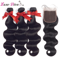 LUXEDIVA Hair Products Malaysian Body Wave With Closure Non Remy Hair Weft Weave 2/3 Bundles Human Hair Bundles With Closure 8a free shipping malaysian body wave 4 by 4 inch lace frontal closure with 2 bundles body wave hair weft black bouncy nlwhair