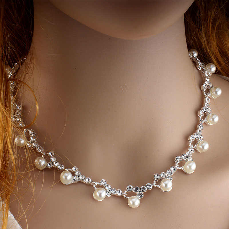 jiayijiaduo Classic Silver Color Wedding Jewellery Set For Fashion Girl's Faux Pearl Necklace Earrings Dress Accessories new