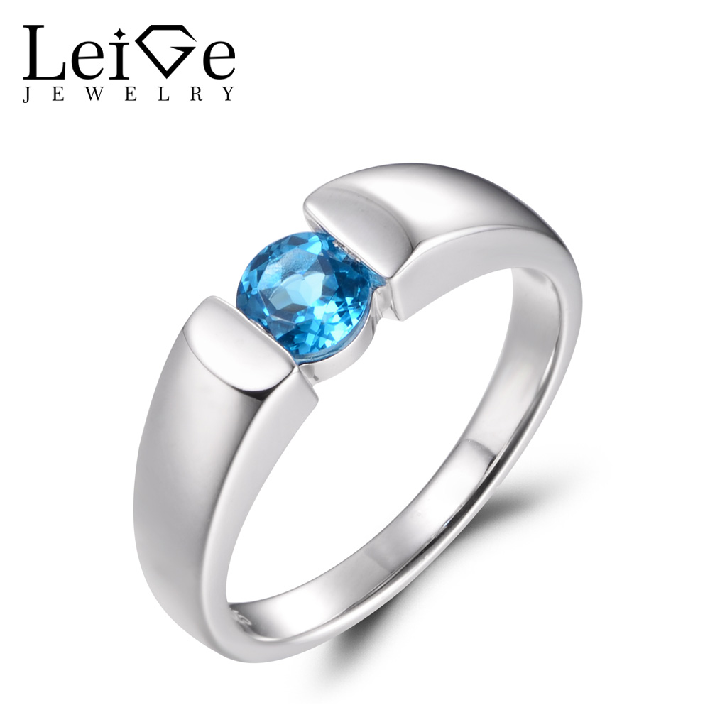 LeiGe Jewelry Genuine Swiss Blue Topaz Rings Anniversary Rings November Birthstone Round Shape Blue Gems 925 Sterling Silver термокружка gems 470ml blue topaz 1907 77