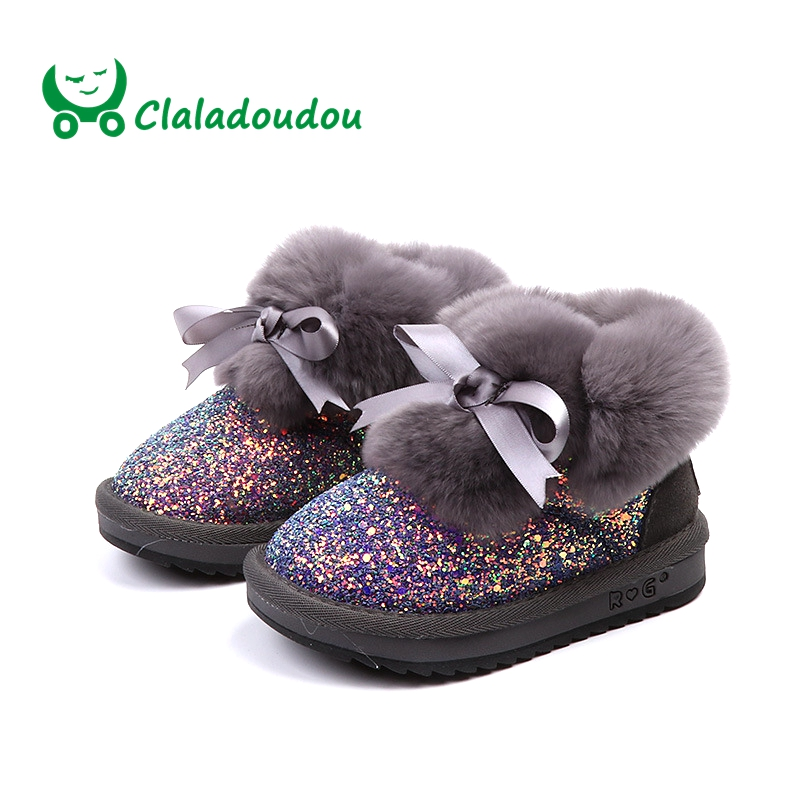все цены на Claladoudou 16-19CM Brand 2018 Toddler Bow Children Fashion Boots Baby Girl Bling Natural Rabbit Plush Lace Up Snow Boots Kids