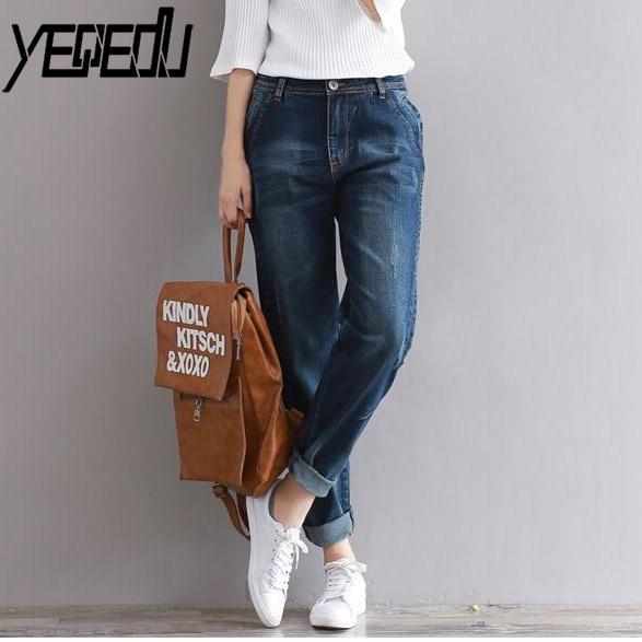 #4602 Spring High Waist Jeans Women Stretch Denim Loose Harem Wide Leg Jeans Ladies Fashion Plus Size 3XL Boyfriend Jeans Loose