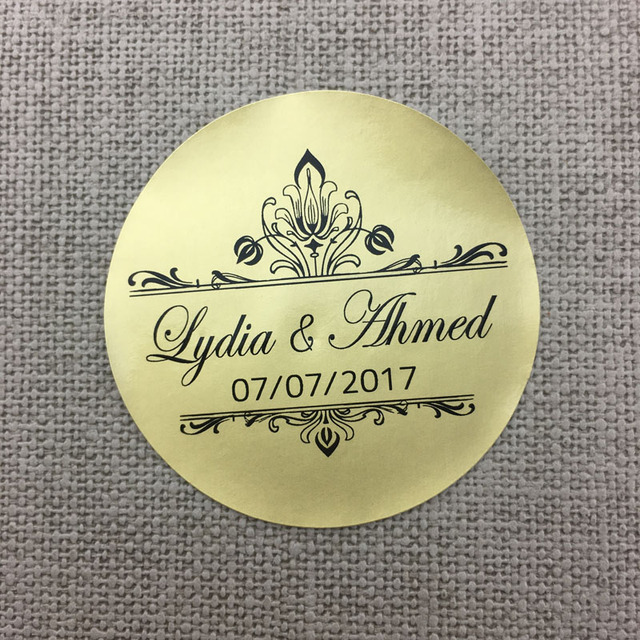Custom 100 pcs personalized pvc wedding stickers party birthday envelope gold sticker free design logo self