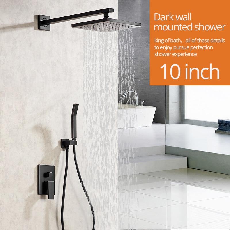 € 85.44 35% de réduction|Robinets de douche noir mat montage mural robinet  de salle de bain ensemble pluie carré grand pommeau de douche robinet à ...