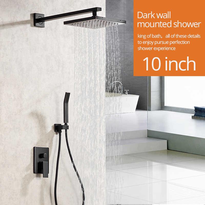 shower faucets matte black wall mount bathroom faucet set rainfall square big shower head handheld valve bath mixer tap yb 623r