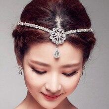 New Wedding Hair Jewelry Bridal Bijoux Rhinestones Forehead Head Jewelry Crystal Drop Bindi