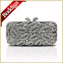 100% Handmade Silber Kristall Abendtaschen Frauen Party Clutch handtasche mit lange Kette Luxus Kleine Handtasche Dhl-freies