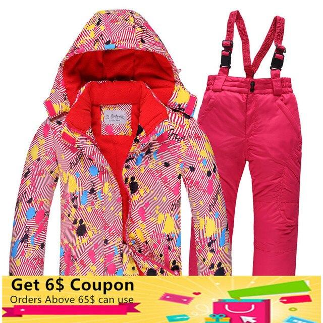 2018 зимний лыжный костюм для взрослых и детей, толстая непромокаемая верхняя одежда для мальчиков и девочек, семейные ветрозащитные куртки, зимняя одежда в клетку