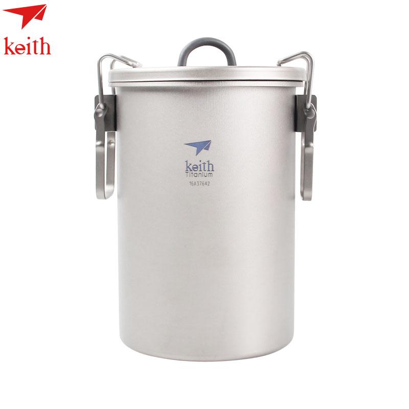 кит ручкой - Keith Outdoor Titanium 900ml Pot  Cup with Foldable Handle Camping Hiking Picnic Cooking cookware Set Non-stick Cookware