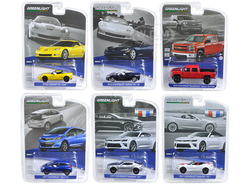 Able 6 Piece Set Gl 1:64 General Motors Collection 2 Alloy Model Car Diecast Metal Toys Birthday Gift For Kids Boy