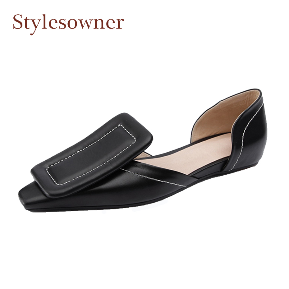 Фотография Stylesowner black white genuine leather women spring shoes big square buckle two pieces hollow all match luxury women shoe flats