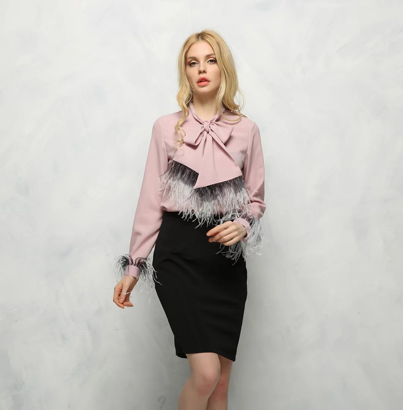 2017 New Arrival Scarf Shirts for Women Long Sleeve Button-down Casual Full Sleeve Female Ostrich Feather Female Blouses